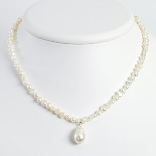 Versil Sterling Silver Freshwater Cultured Pearl Drop 18 Inch Necklace