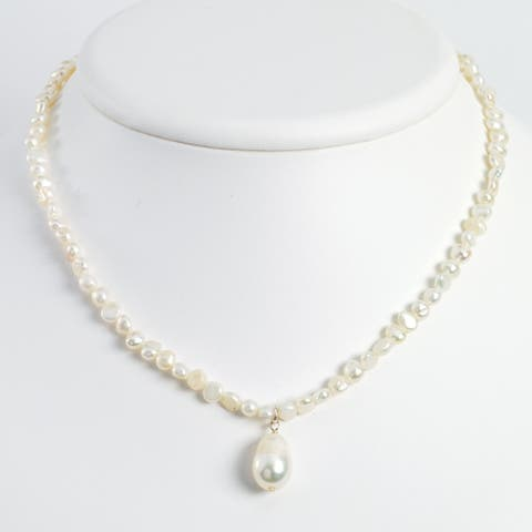 Sterling Silver Freshwater Cultured Pearl Drop 18-inch Necklace by Versil