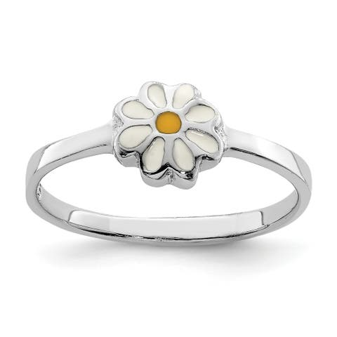 Sterling Silver Rhodium-plated Child's White and Yellow Enamel Daisy Ring by Versil