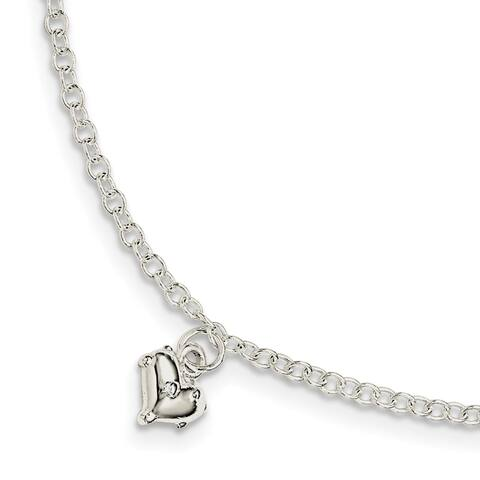 Sterling Silver Children's Polished Heart with 1.5 Inch Extension Bracelet by Versil