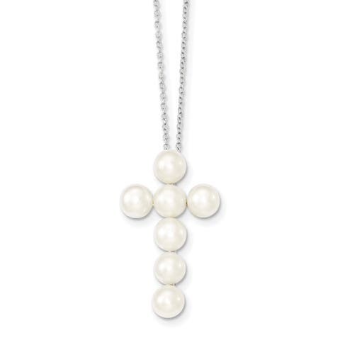 Versil Sterling Silver Rhodium-plated 6-7mm White Freshwater Cultured Pearl Cross Necklace