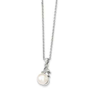 Versil Sterling Silver 6 7mm White Freshwater Cultured Pearl CZ Pendant Necklace
