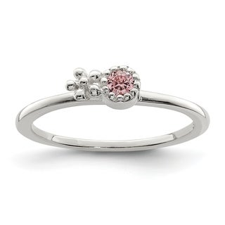 Versil Sterling Silver Pink CZ Flower Kid's Ring