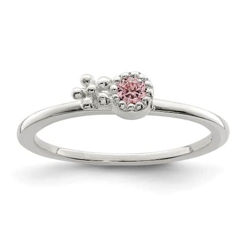 Sterling Silver Pink CZ Flower Kid's Ring by Versil