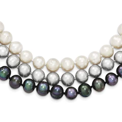 Versil Sterling Silver 8-9mm Freshwater Cultured Pearl White/Black/Grey Necklace