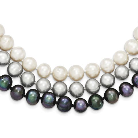 Sterling Silver 8-9mm Freshwater Cultured Pearl White, Black and Grey Necklace by Versil