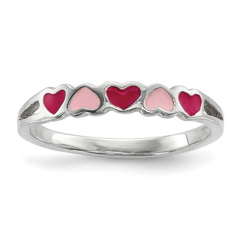 Versil Sterling Silver Children's Enameled Hearts Ring