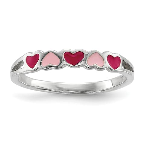 Sterling Silver Children's Enameled Hearts Ring by Versil