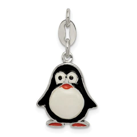 Versil Sterling Silver Enamel Penguin Pendant with 18-inch Chain