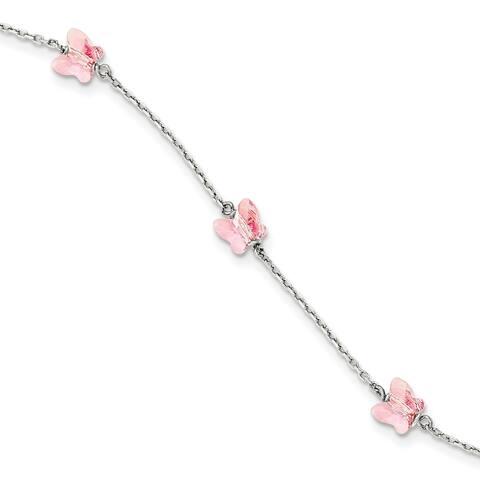 Sterling Silver 6mm Light Rose Crystal Butterfly By The Yard Bracelet by Versil