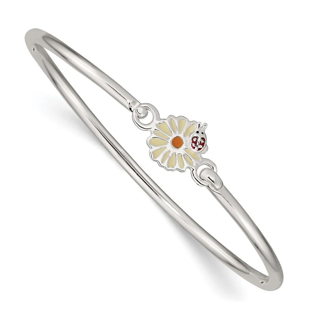 Versil Sterling Silver Enamel Flower Kid's Bangle Bracelet