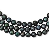 Versil Sterling Silver 8-9mm Freshwater Cultured Pearl Black Necklace