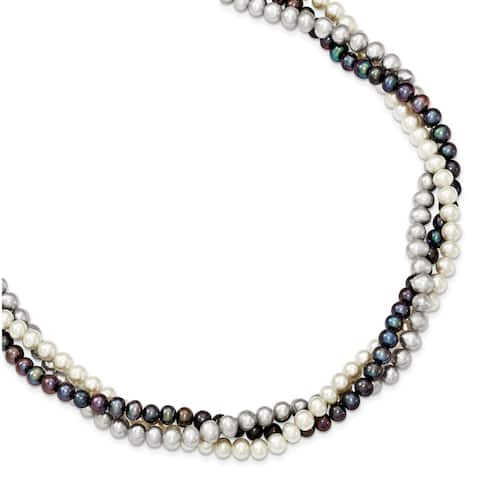 Versil Sterling Silver Rhodium-plated 5-6mm Freshwater Cultured Semi Round Pearl with 2-inch Extension Necklace