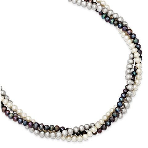Sterling Silver Rhodium-plated 5-6mm Freshwater Cultured Semi Round Pearl with 2-inch Extension Necklace by Versil