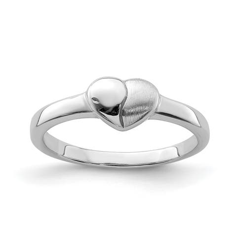 Versil Sterling Silver Rhodium-plated Polished and Satin Heart Ring
