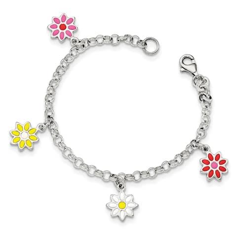 Versil Sterling Silver Enamel Flowers Bracelet