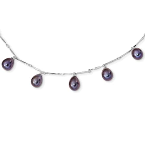 Versil Sterling Silver Rhodium-plated 7-8mm Black Rice Freshwater Cultured Pearl Dangle Necklace