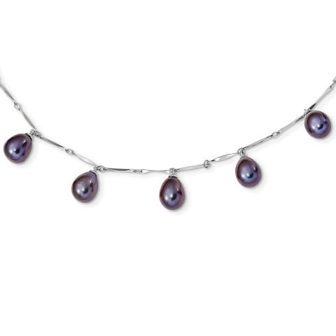 Sterling Silver Rhodium-plated 7-8mm Black Rice Freshwater Cultured Pearl Dangle Necklace by Versil