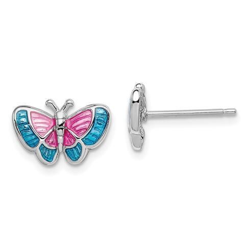 Sterling Silver Rhodium-plated Enamel Butterfly Post Earrings by Versil