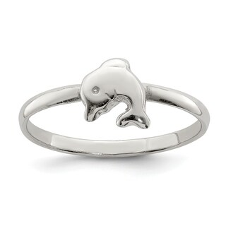 Versil Sterling Silver Rhodium-plated Child's Polished Dolphin Ring
