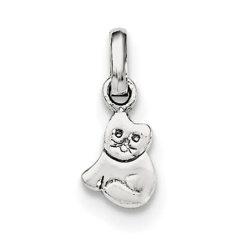 Sterling Silver Rhodium-plated Child's Polished Kitty Cat Pendant with 18-inch Cable Chain by Versil