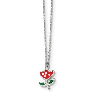 Versil Sterling Silver Polished and Enameled Red Flower 14-inch Necklace