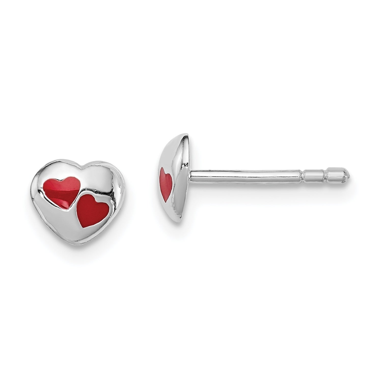 Sterling Silver Heart with Enameled Ladybug Post Earrings