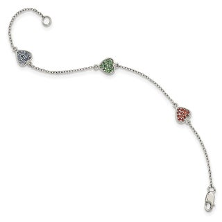 Versil Sterling Silver Polished Hearts with Red/Green/Blue Glass Stone Bracelet