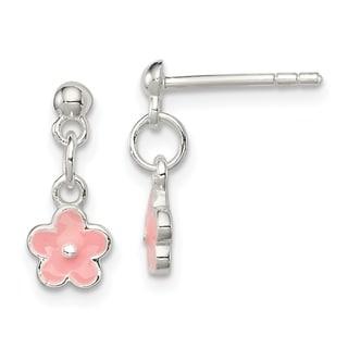 Link to Sterling Silver Pink Enamel Kid's Flower Dangle Earrings by Versil Similar Items in Children's Jewelry