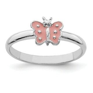 Versil Sterling Silver Rhodium-plated Child's Enameled Butterfly Ring