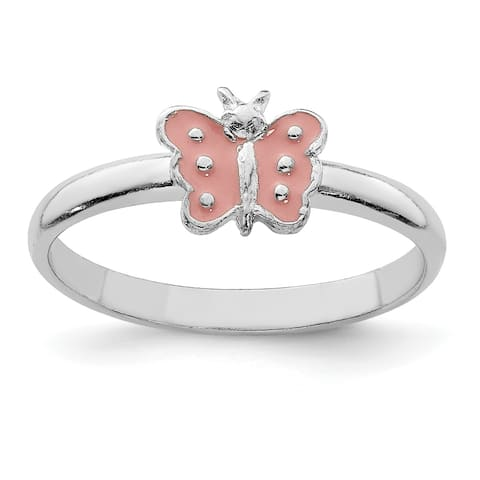 Sterling Silver Rhodium-plated Child's Enameled Butterfly Ring by Versil