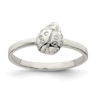 Versil Sterling Silver Rhodium-plated Child's Polished Ladybug Ring