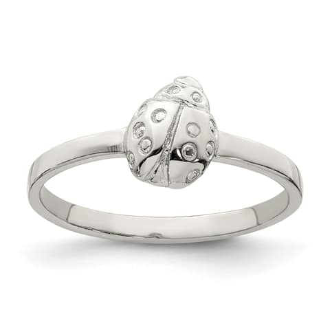 Sterling Silver Rhodium-plated Child's Polished Ladybug Ring by Versil