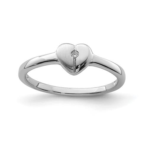 Versil Sterling Silver Rhodium-plated Polished CZ Heart Ring