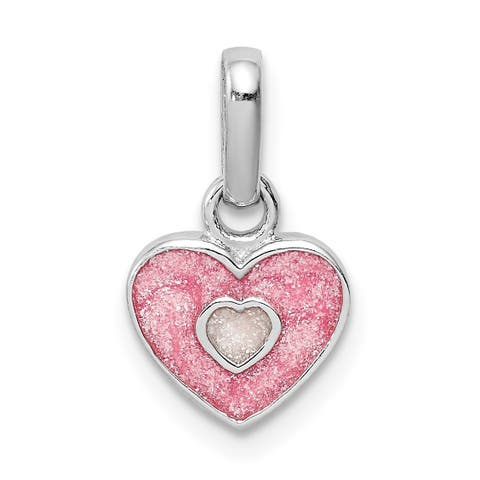 Versil Sterling Silver Rhodium-plated Child's Pink Glittered Enamel Heart Pendant with 18-inch Chain