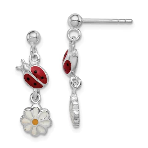 Sterling Silver Rhodium-plated Child Enamel Ladybug and Daisy Earrings by Versil
