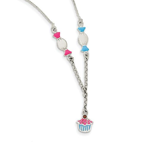 Sterling Silver Enamel Garnet Candy and Ice Cream Childs Necklace by Versil