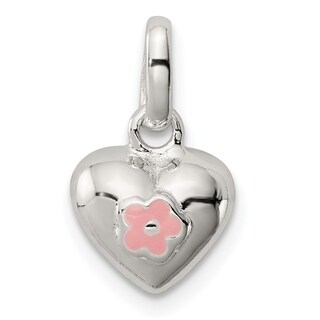 Versil Sterling Silver Pink Enamel Kid's Heart Pendant with 18-inch Chain