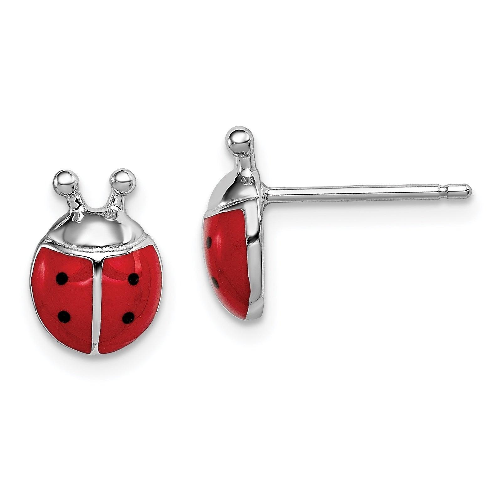 Sterling Silver Ladybug CZ Stud Earrings Lady Bug