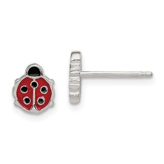Versil Sterling Silver Polished and Enameled Ladybug Post Earrings