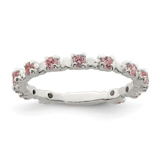 Versil Sterling Silver Pink and White CZ Kid's Ring