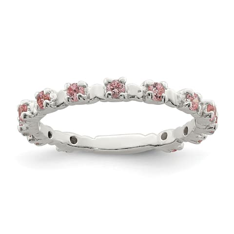 Sterling Silver Pink and White CZ Kid's Ring by Versil