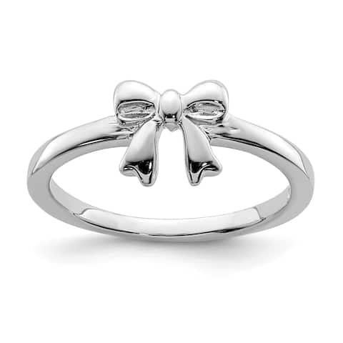 Versil Sterling Silver Rhodium-plated Polished Bow Ring