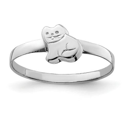 Sterling Silver Rhodium-plated Child's Polished Kitty Cat Ring by Versil