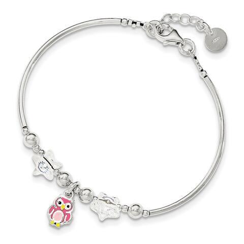 Sterling Silver Children's Enamel Owl Stars .75 Inch Extension Bracelet by Versil