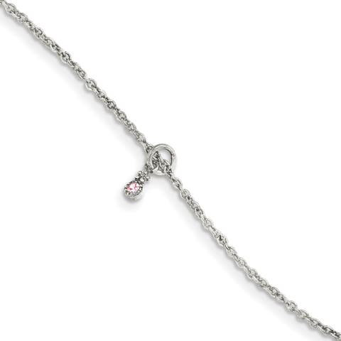Sterling Silver Pink CZ with 1.5 Inch Extension Flower Kid's Bracelet by Versil