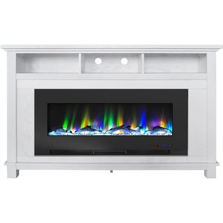 "Cambridge San Jose Fireplace Entertainment Stand in White with 50"" Color-Changing Fireplace Insert and Driftwood Log Display"