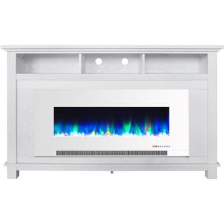 """Cambridge San Jose Fireplace Entertainment Stand in White with 50"""" Color-Changing Fireplace Insert and Crystal Rock Display"""