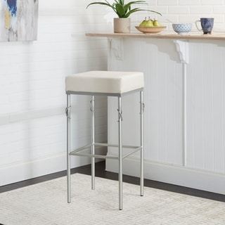 "24"" Gwyneth Upholstered Square Backless Metal Barstool"