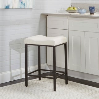 """24"""" Theo Backless Saddle Stool - Gunmetal with White Seat (As Is Item)"""